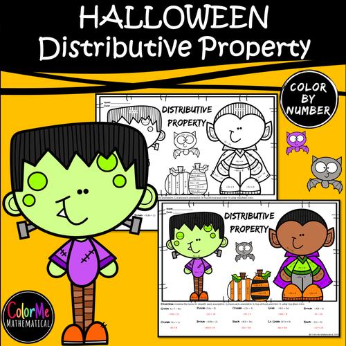 HALLOWEEN Basic Algebra - Distributive Property Worksheet - Color by Number
