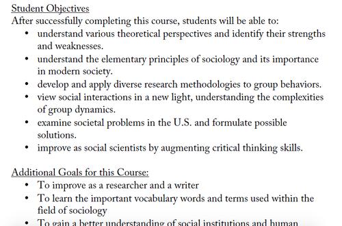 Sociology Syllabus for College (Editable)