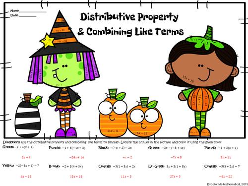 HALLOWEEN - Basic Algebra - Distributive Property & Combining Like Terms