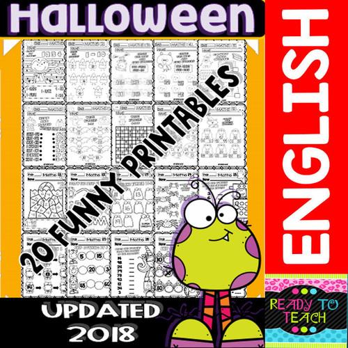 Halloween Maths Funny Worksheets - 20 B&W Printables - Set 1