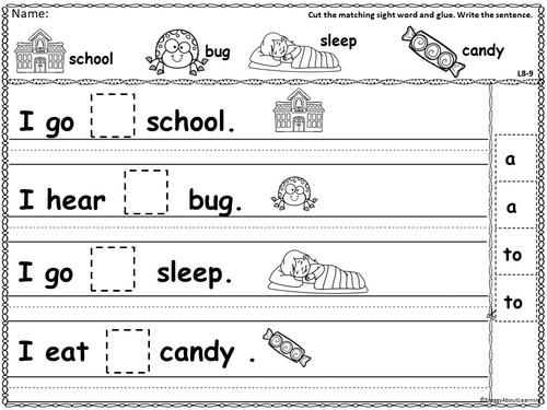 Sentence Fill-In practice sheets with picture cues. Cut and glue activity