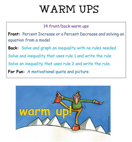 7th grade Warm-ups - Set 1