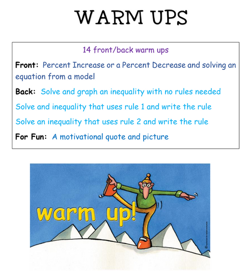 7th grade Warm-ups - Set 1
