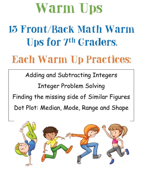 7th grade Warm-ups - Set 4