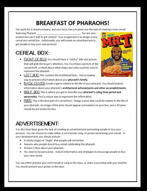 Breakfast of Egyptian Pharaohs: Cereal Box PBL