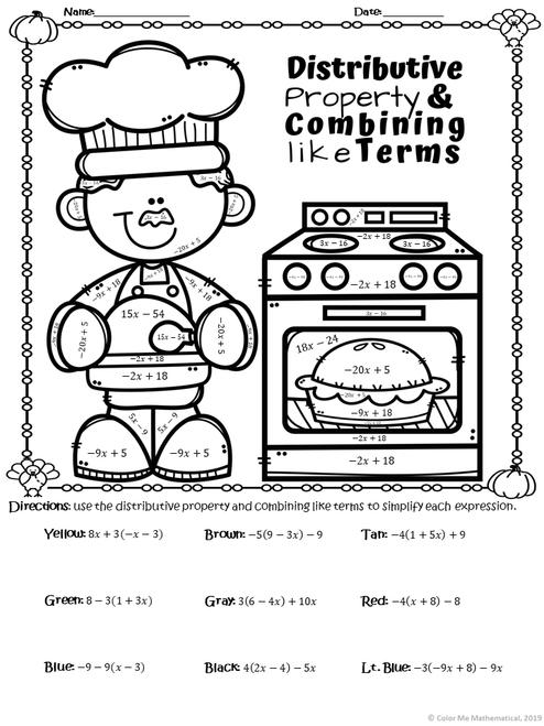 THANKSGIVING DINNER - Basic Algebra Color By Number Worksheets