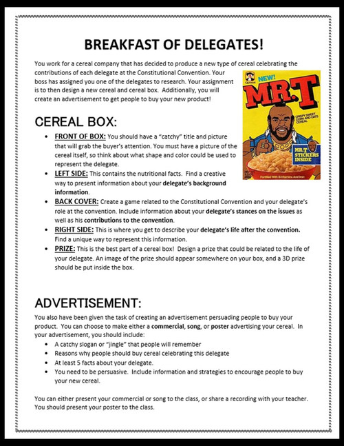 Breakfast of Delegates at the Constitutional Convention: Cereal Box PBL