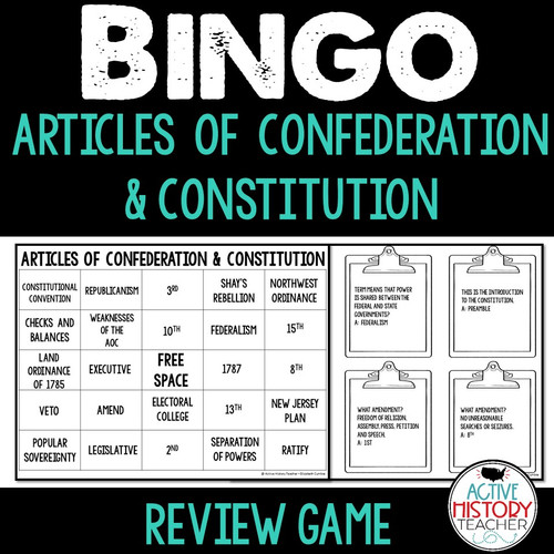 Articles of Confederation Constitution Bingo Review STAAR Review