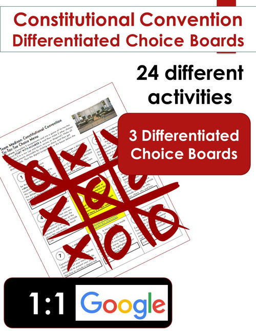 Constitutional Convention Choice Board Learning Menus (set of 3)