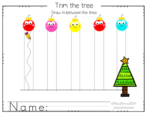 CHRISTMAS Pre-writing Tracing Lines and Shapes