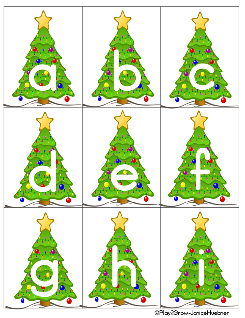 CHRISTMAS TREES Alphabet and Number Games