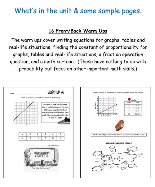 7th grade Probability Unit