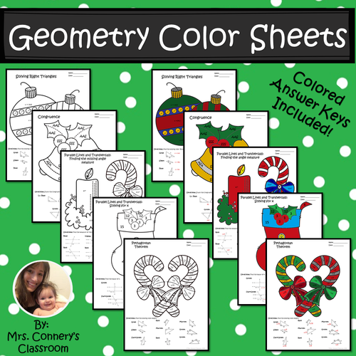 Christmas/Holiday Geometry Color Sheets (Congruence, Pythagorean Thm, etc)