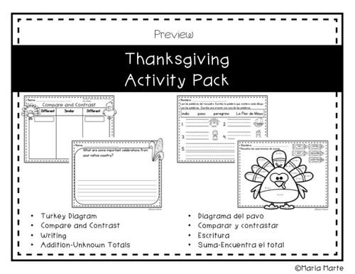 Actividades del Día de Acción de Gracias // Thanksgiving Activity Pack