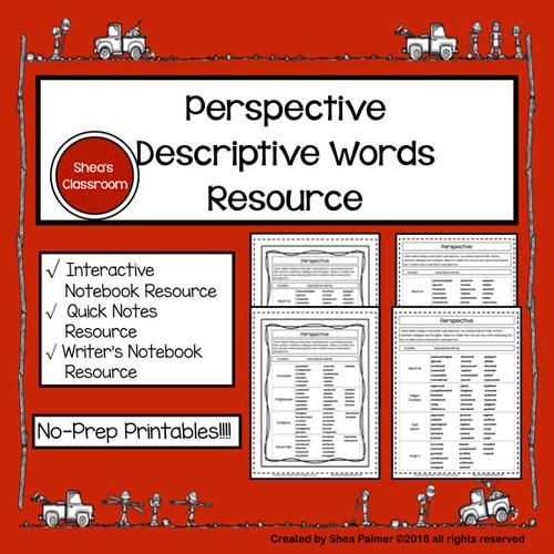 Perspective Descriptive Word List - No Prep-Printables