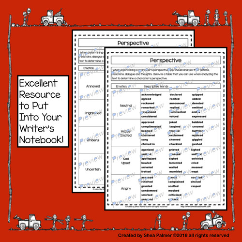 Perspective Descriptive Word List - No Prep-Printables