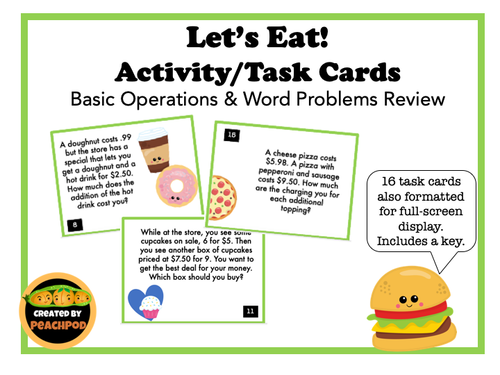 Let's Eat! Activity/Task Cards - Basic Operations & Word Problems Review