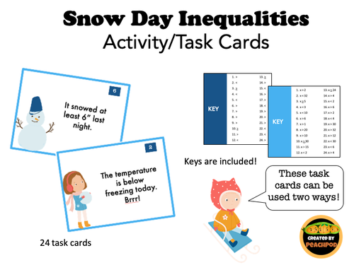 Snow Day Inequalities: Activity/Task Cards