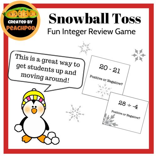 Snowball Toss: Fun Integer Review Activity