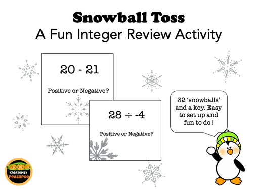 Snowball Toss: Fun Integer Review Activity