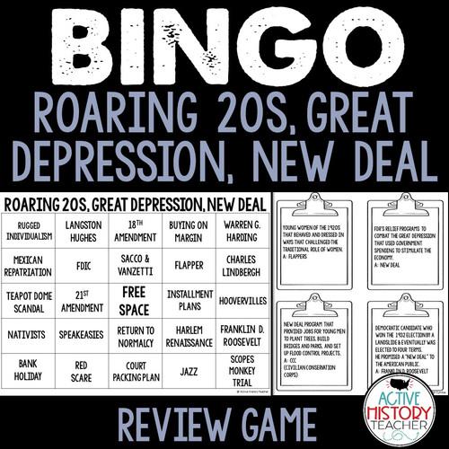 Roaring 20s, Great Depression, New Deal BINGO