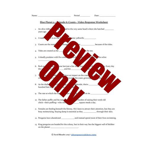Blue Planet 2 - Episode 6 - Coasts - Video Response Worksheet & Key