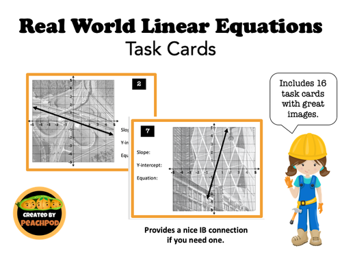 Real World Linear Equations: Task Cards