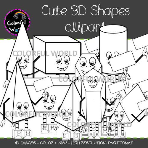 Cute 3D Shapes clipart