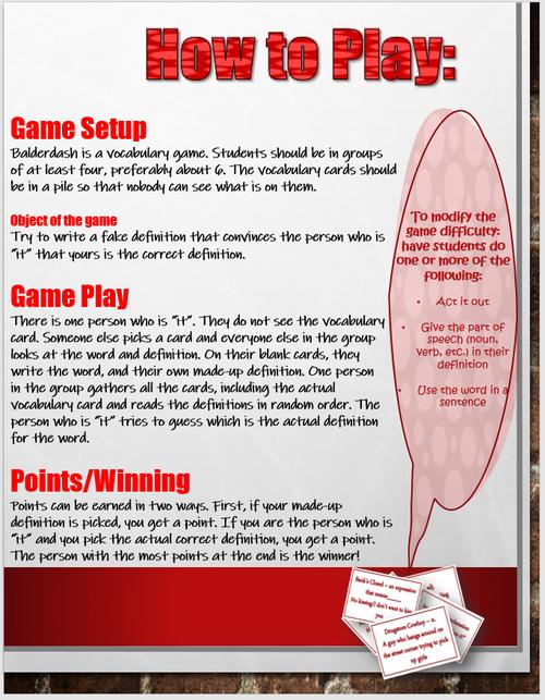 Civil Rights Vocabulary Game - Balderdash!