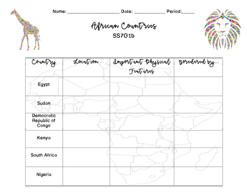 African Countries-SS7G1b Power Point and Activities