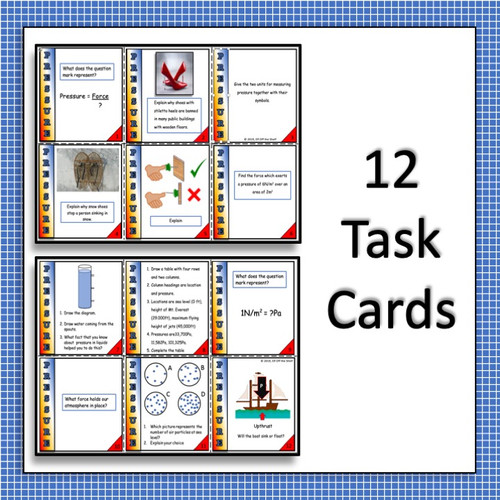 Forces - 12 Pressure Task Cards