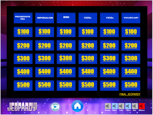 20th Century Jeopardy Review Game - Imperialism, Gilded Age, 20-30s, WWI, etc.