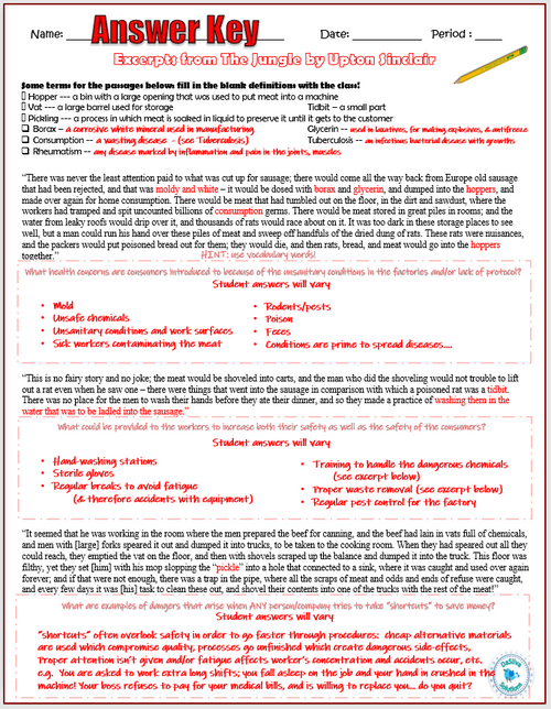 """Industrial Revolution: """"The Jungle"""" Close Reading & Guided Question Activities"""