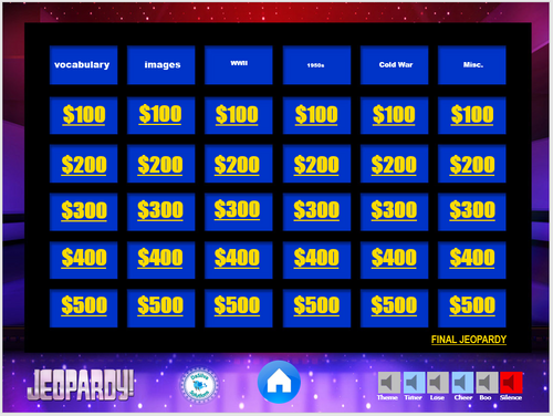 US History: WWII through Cold War Jeopardy Review Game Activity