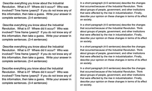 Industrial Revolution Extended Response Questions - FREE!