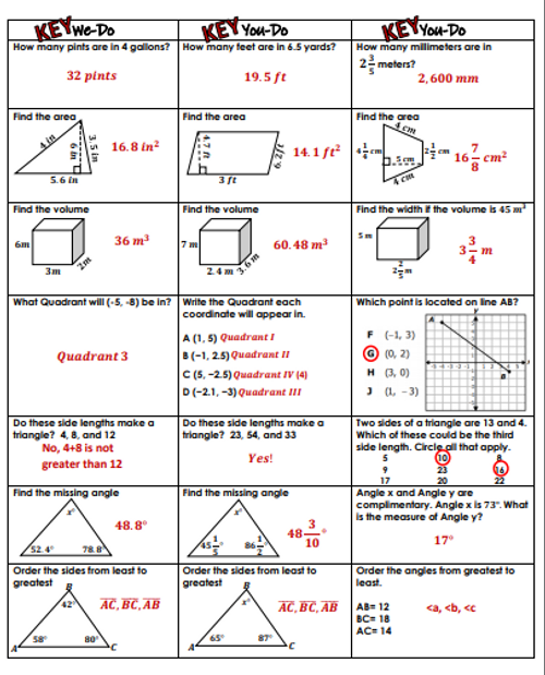 6th Grade Geometry Review- We-Do, You-Do Guided Class Activity