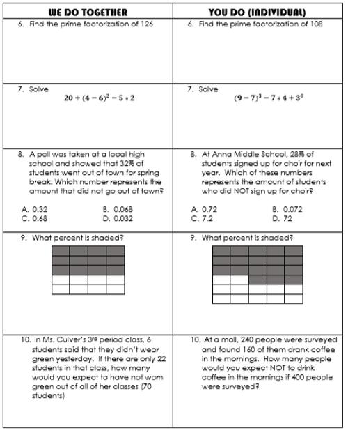 "Post- Break Spiral Review- 6th Grade Math ""We-Do, You-Do"""