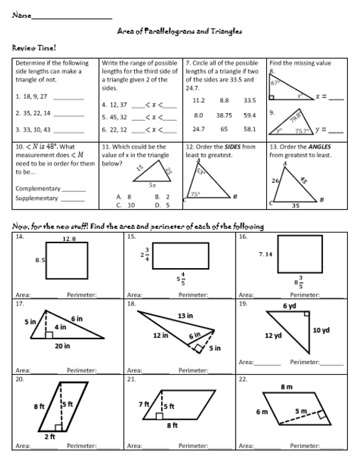 Area and Perimeter of Parallelograms and Triangles