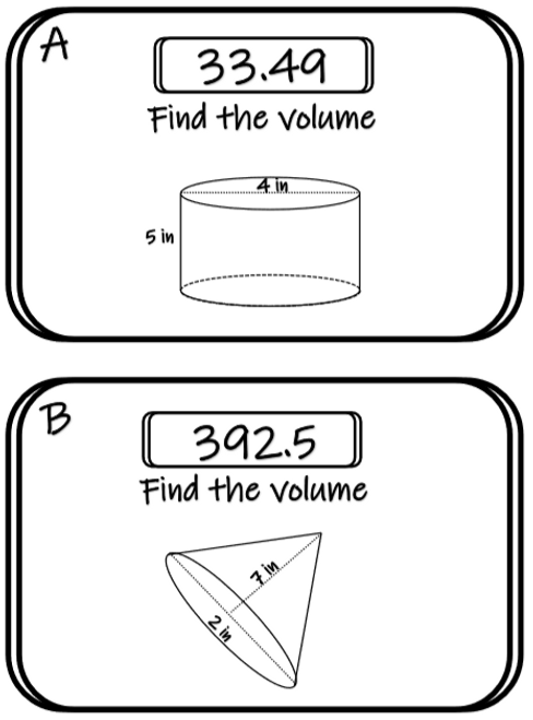 Finding the Volume of Cylinders, Cones, and Spheres Scavenger Hunt Activity