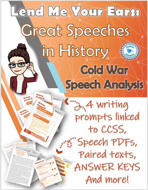 """""""Lend Me Your Ears"""" Cold War Speech Analysis: 4 prompts linked to CCSS!"""