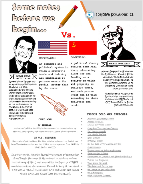 """Lend Me Your Ears"" Cold War Speech Analysis: 4 prompts linked to CCSS!"