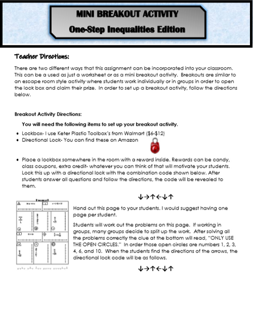 One-Step Inequalities Mini Breakout Activity (Solving and Graphing)