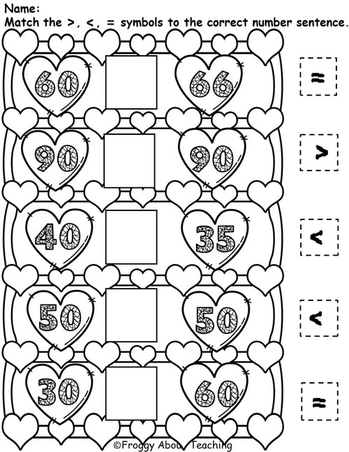 1st g. Valentine's Tens Math Packet