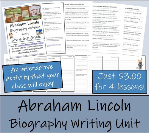 Abraham Lincoln - 5th & 6th Grade Biography Writing Activity
