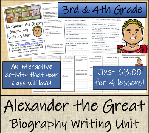 Alexander the Great - 3rd & 4th Grade Biography Writing Activity