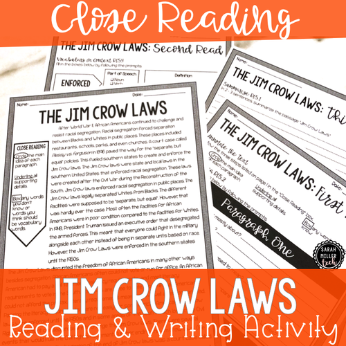 Jim Crow Laws Close Reading & Writing Activity (SS5H6)
