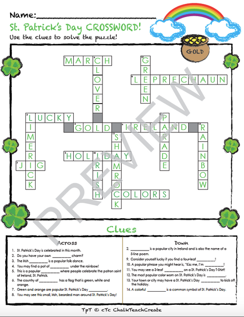 St. Patrick's Day Crossword Puzzle!