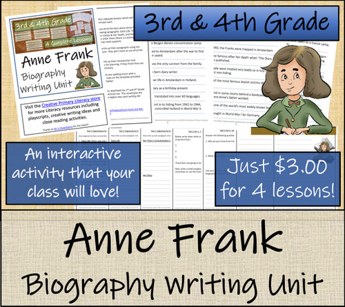 Anne Frank - 3rd & 4th Grade Biography Writing Activity