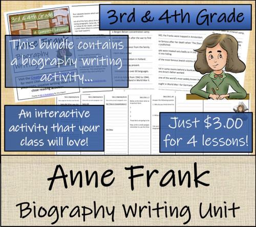 Anne Frank - 3rd & 4th Grade Close Read & Biography Writing Bundle