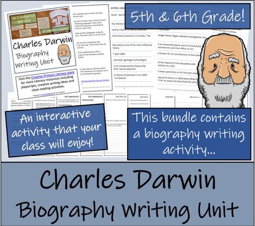 Charles Darwin - 5th & 6th Grade Close Read & Biography Writing Bundle